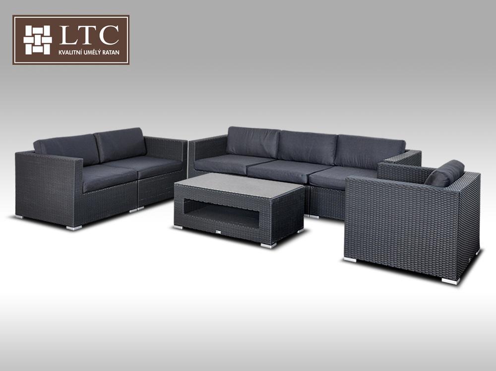 Umělý ratan - luxusní sedací souprava ALLEGRA IV černá 6 osob + DÁREK