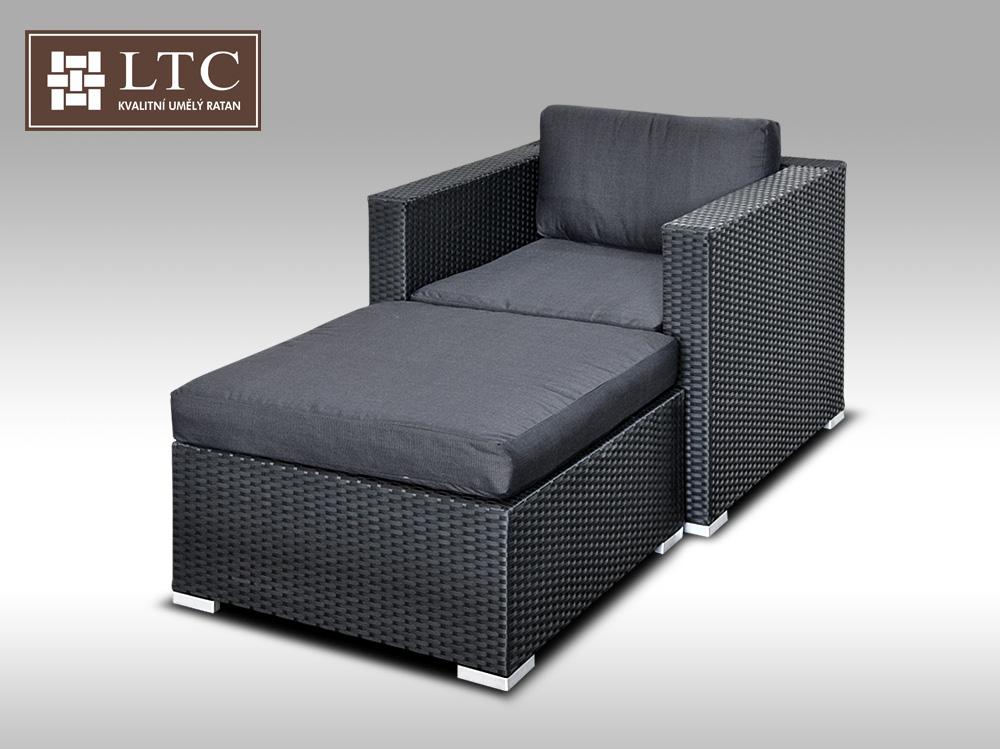 Umělý ratan - luxusní sedací souprava ALLEGRA I černá 1-2 osoby