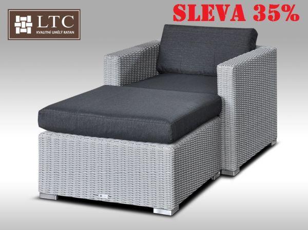 Umělý ratan - luxusní sedací souprava ALLEGRA I šedá 1-2 osoby, kulatý ratan