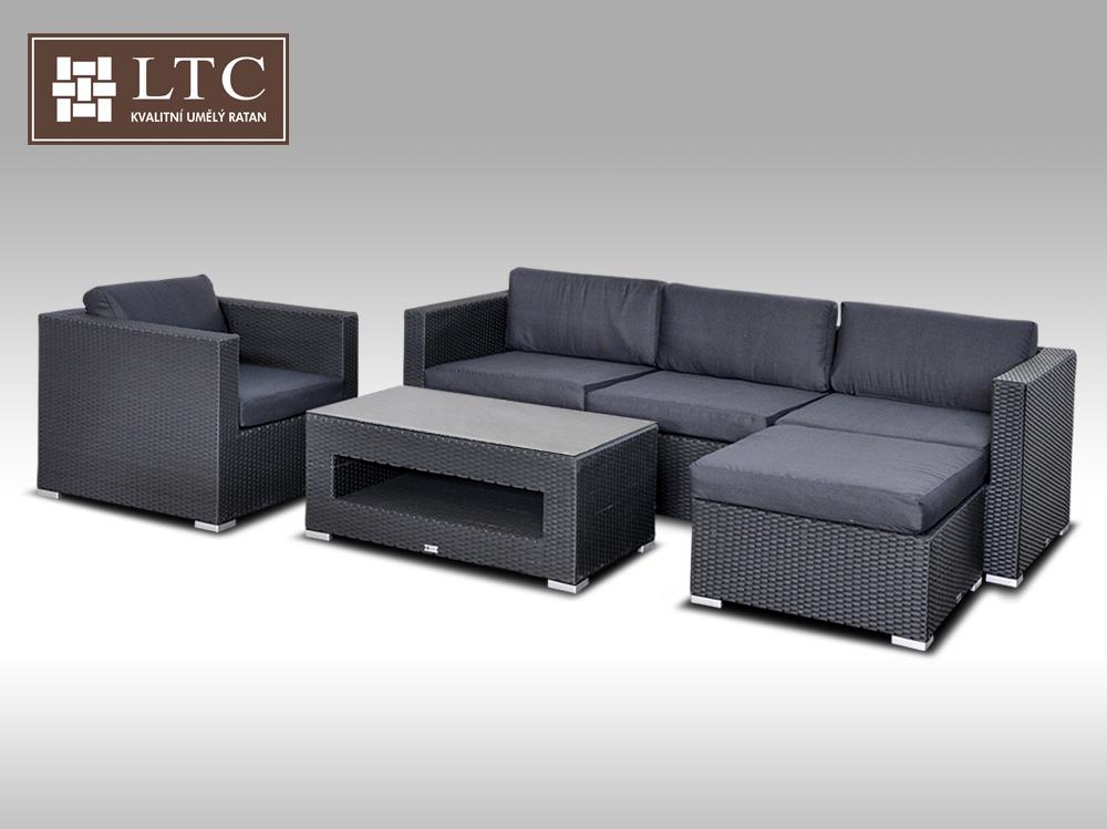 Luxusní rohová sedací souprava ALLEGRA VIII černá 4-5 osob + DÁREK