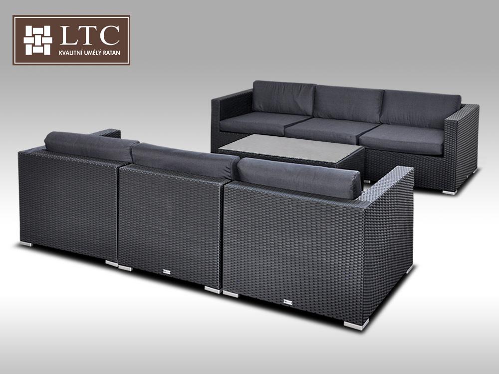 Umělý ratan - luxusní sedací souprava ALLEGRA VI černá 6 osob + DÁREK