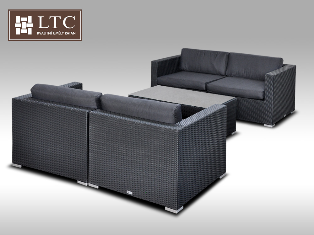 Umělý ratan - luxusní sedací souprava ALLEGRA V černá 4 osoby + DÁREK