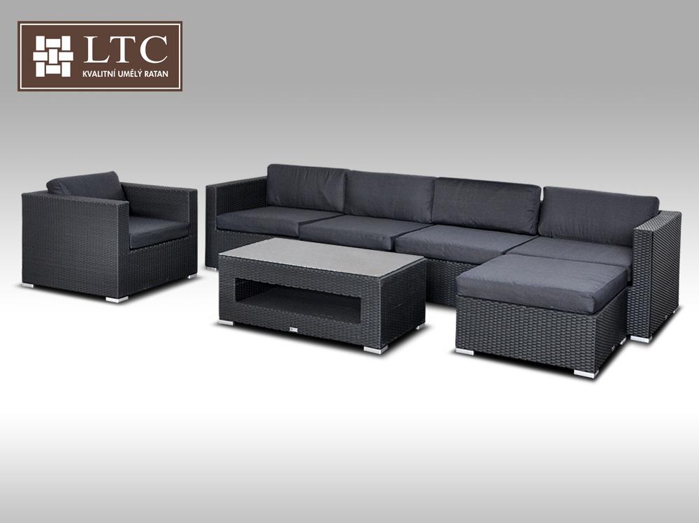 Luxusní rohová sedací souprava ALLEGRA X černá 5-6 osob + DÁREK