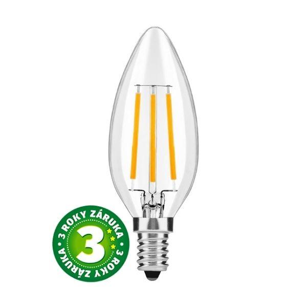 Prémiová retro LED žárovka E14 7W 870lm teplá, filament, 3 roky