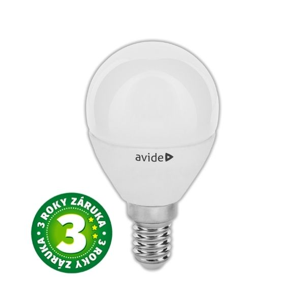 Prémiová LED žárovka E14 6W 450lm G45 teplá, 3 roky