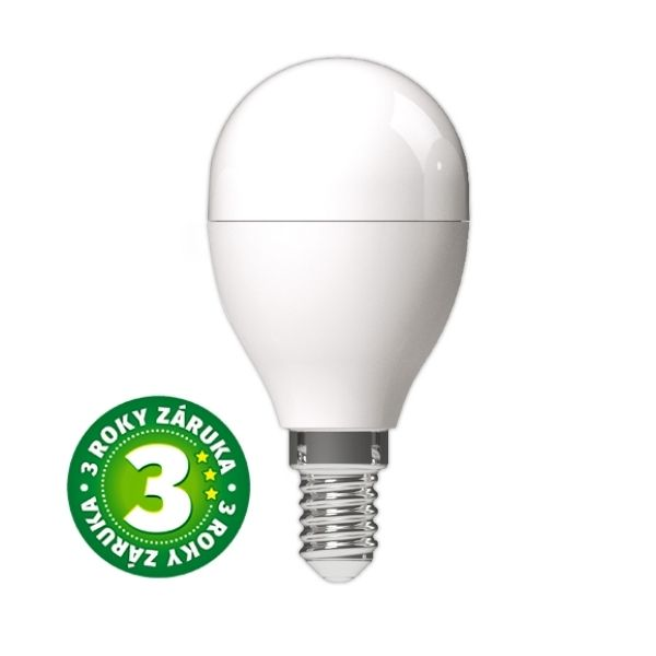 Prémiová LED žárovka E14 8W 830lm G45, studená, 3 roky