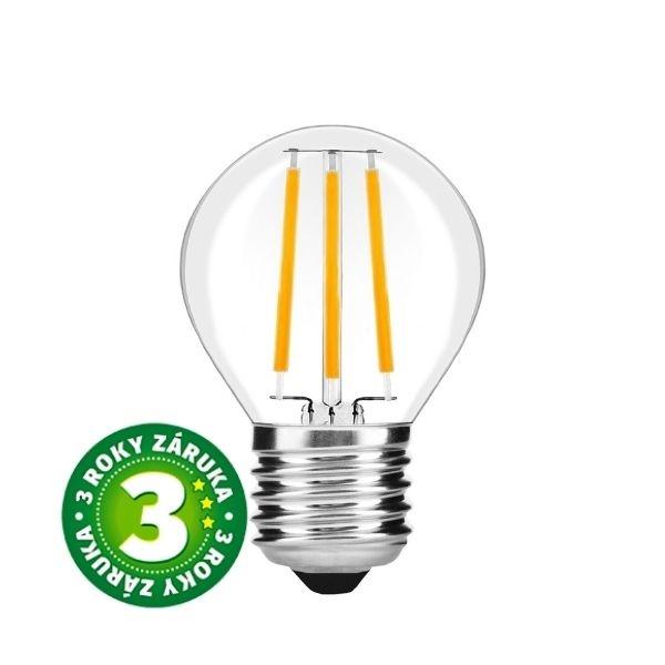 Prémiová retro LED žárovka E27 7W 870lm G45 teplá, filament, 3 roky