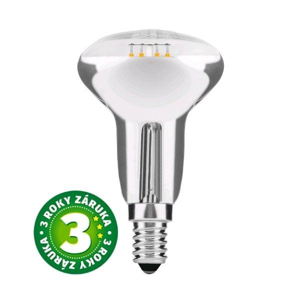 Prémiová retro LED žárovka E14 4W 390lm R50 teplá, filament, 3 roky