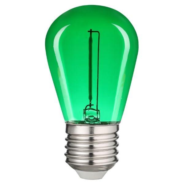 Retro barevná LED žárovka E27 0,6W 50lm zelená, filament