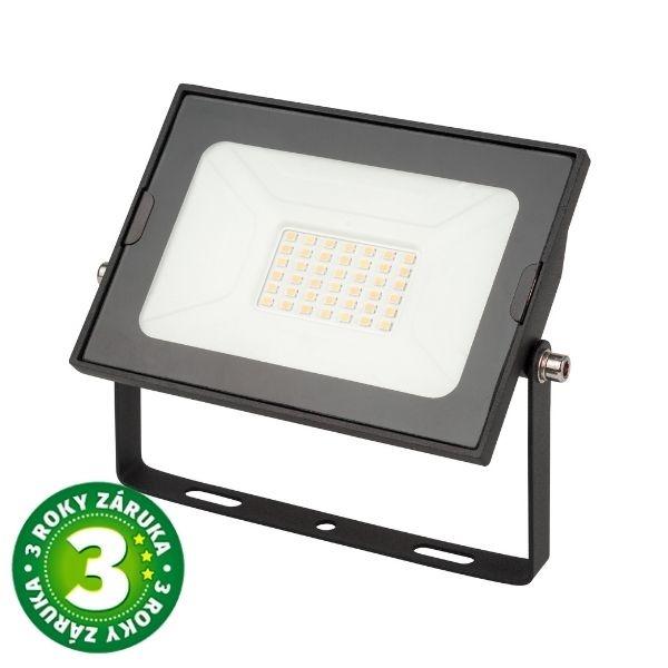 Prémiový ultratenký LED reflektor černý  30W 2250lm, denní, 3 roky