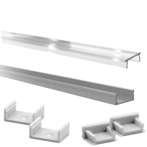 Hliníkový profil pro 8mm a 10mm LED pásky 1m čirý kryt