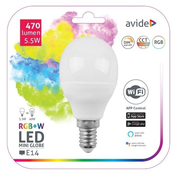 Chytrá  LED žárovka  E14 5,5W WIFI RGB + teplá, denní, studená (SMART)