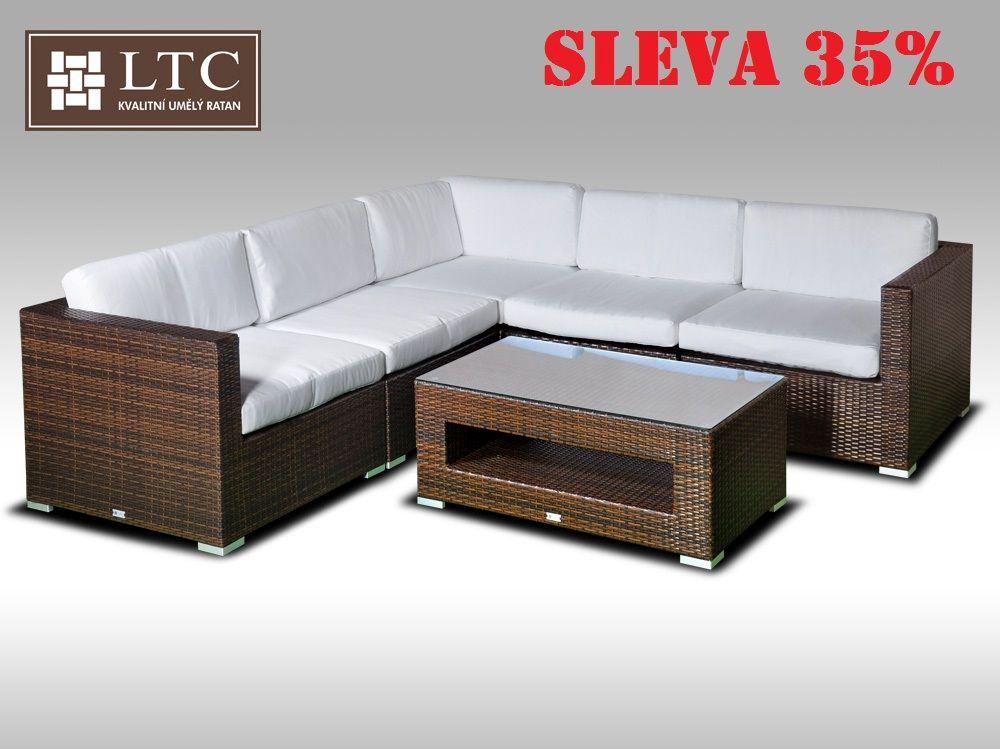 Luxusní rohová sedací souprava ALLEGRA XIII hnědá 4 osoby