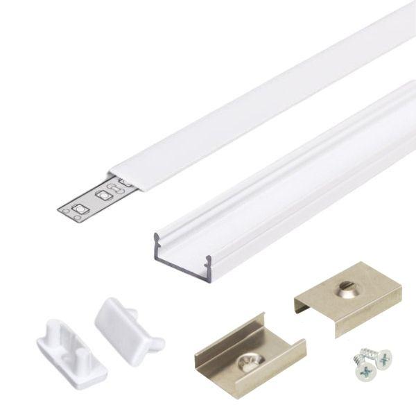 Bílý hliníkový profil pro 8, 10 a 12mm LED pásky, 1m mlžný kryt set