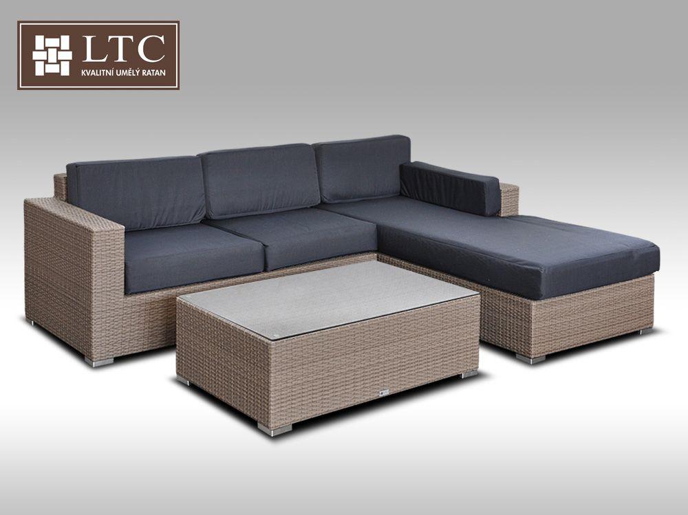 Luxusní sedací souprava z umělého ratanu Conchetta I šedobéžová 2,48x1,9m