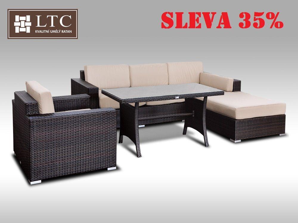 Luxusní sedací souprava z umělého ratanu Conchetta XII 2v1 2,48x1,9m, světle hnědý polstr