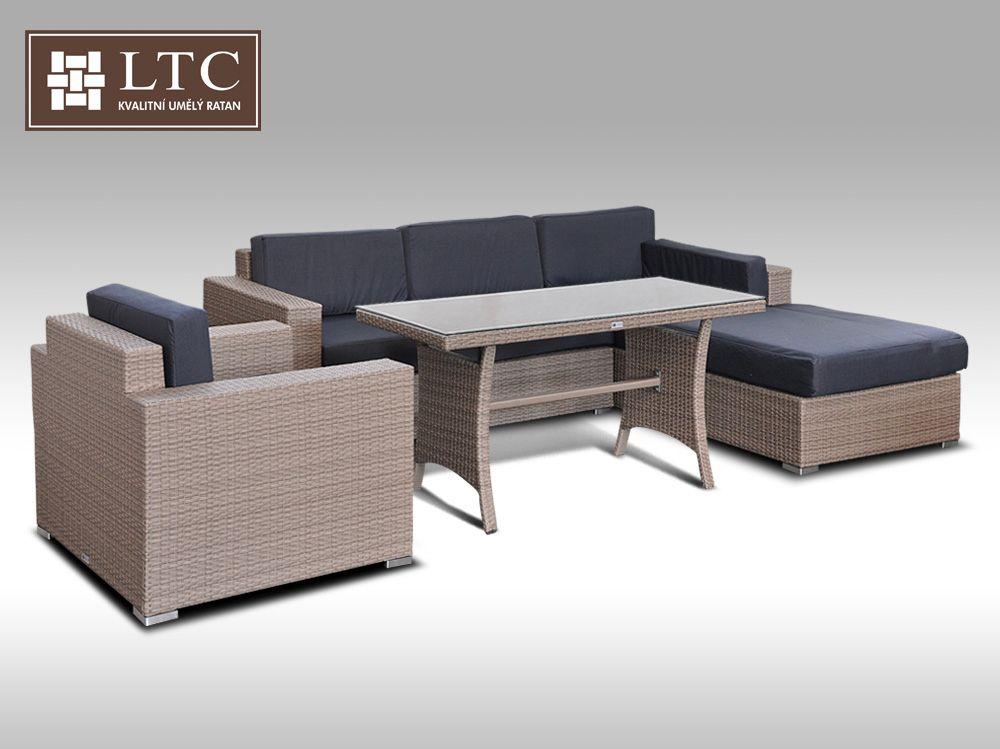 Luxusní sedací souprava z umělého ratanu Conchetta XII  2v1 šedobéžová 2,48x1,9m