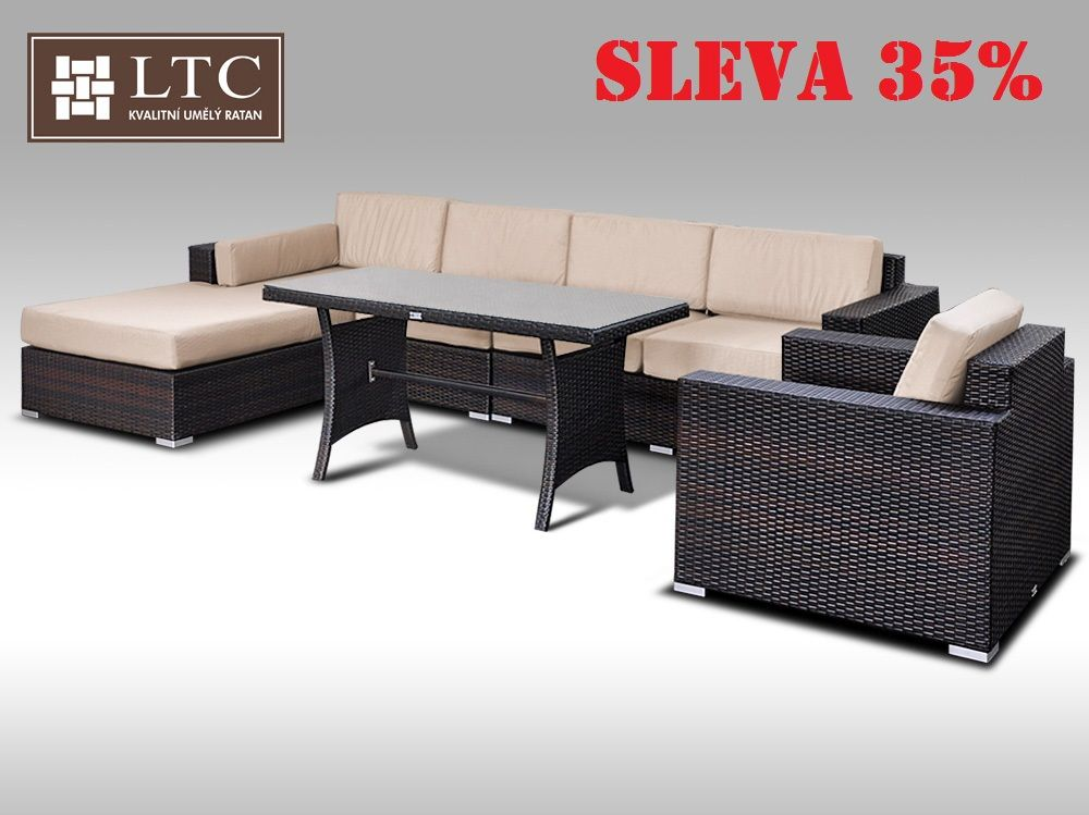 Luxusní sedací souprava z umělého ratanu Conchetta XVIII 2v1 3,22x1,9m, sv. hnědý polstr