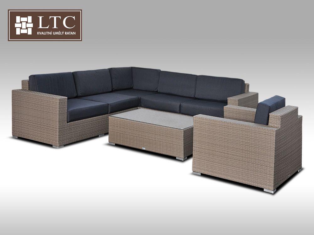 Luxusní sedací souprava z umělého ratanu Conchetta XX šedobéžová 2,42x2,42m