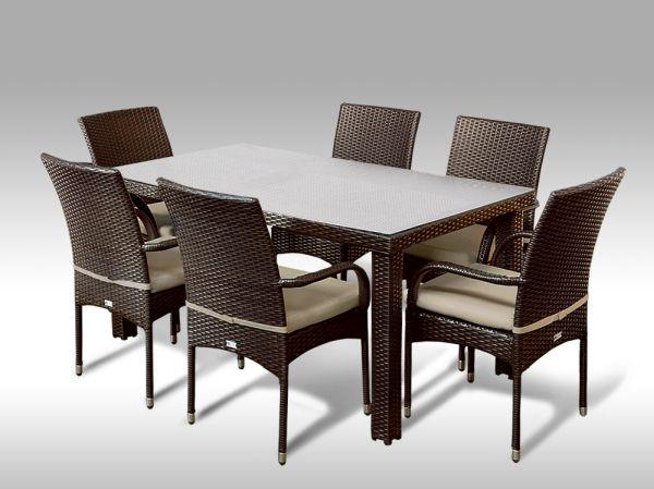 Umělý ratan - jídelní sestava Enrico 160 + 6 židlí Pietro hnědá, světle hnědý polstr