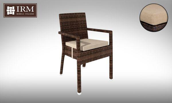 Židle z umělého ratanu Falco, béžový polstr