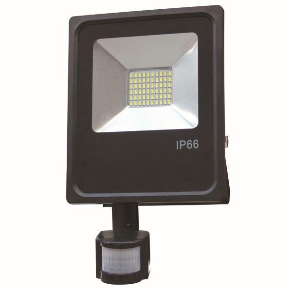 Ultratenký LED reflektor s čidlem pohybu černý  50W 4000lm teplá