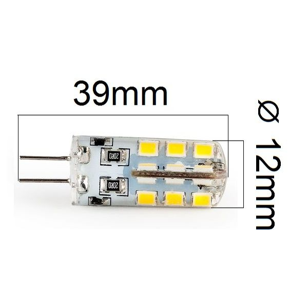 LED žárovka G4 3,2W 300lm 12V studená, ekvivalent 30W
