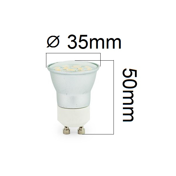 LED žárovka GU10 3W 300lm 3,5cm studená, ekvivalent 30W