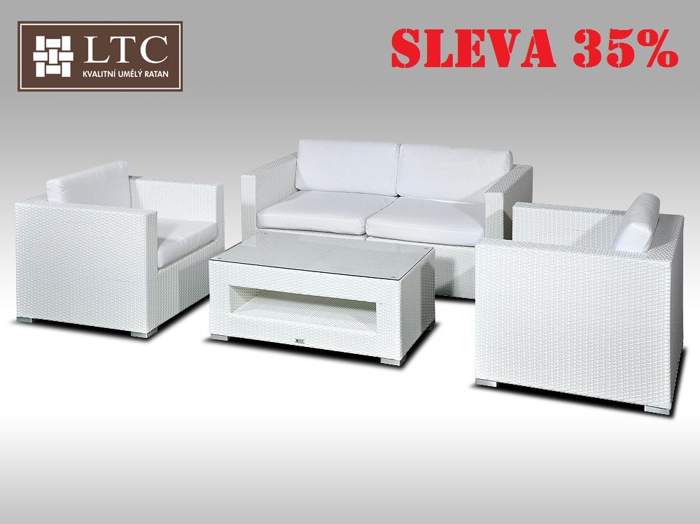 Umělý ratan - luxusní sedací souprava ALLEGRA II bílá 4 osoby