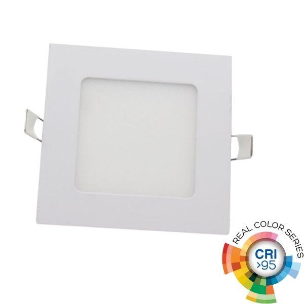 Vestavný LED panel 6W 440lm 12x12cm CRI95 teplé světlo,  čtvercový