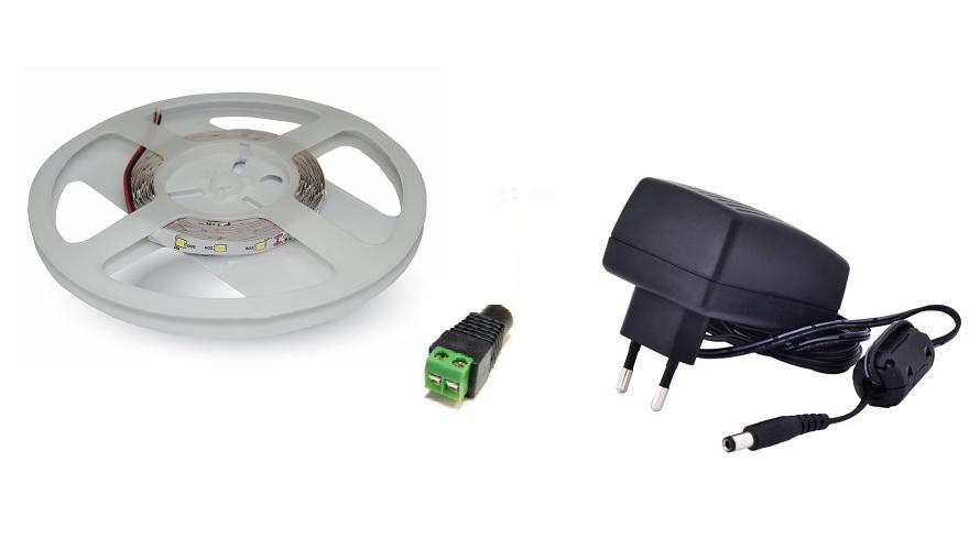 Set: Led pásek 60x3528 smd 4,8W/m, teplá + zdroj 24W + konektor