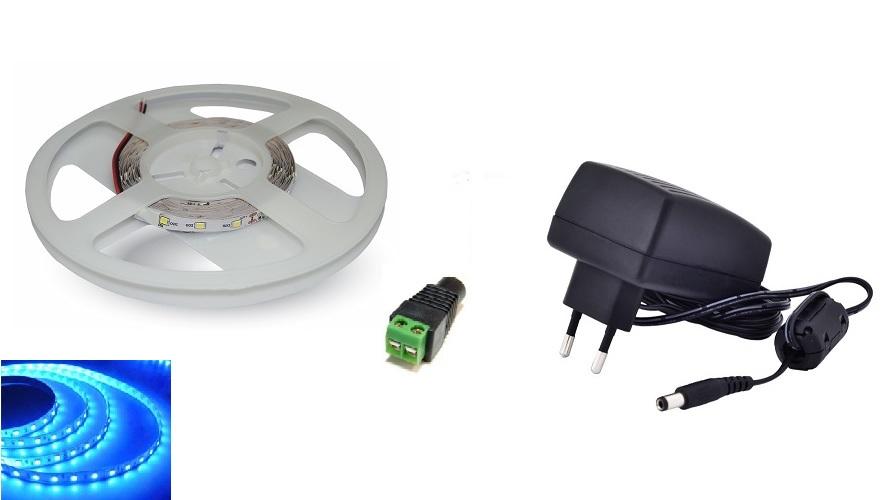 Set: LED pásek 60x3528 smd 3,6W/m, modrá + zdroj 24W + konektor