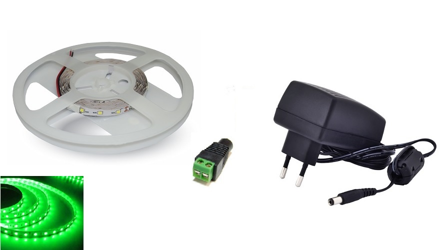 Set: LED pásek 60x3528 smd 4,8W/m, zelená + zdroj 24W + konektor