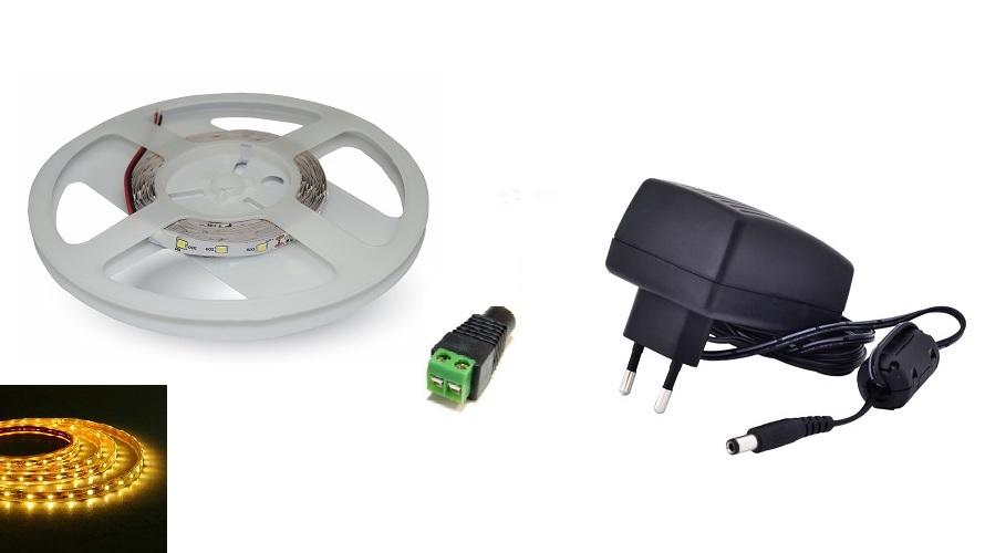 Set: LED pásek 60x3528 smd 3,6W/m, žlutá + zdroj 24W + konektor
