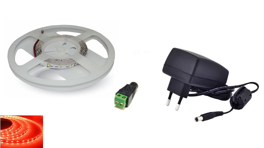 Set: LED pásek 60x3528 smd 3,6W/m, červená + zdroj 24W + konektor