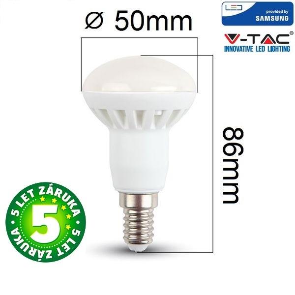Prémiová LED žárovka E14 SAMSUNG čipy 6W 470lm R50, studená, 5 let