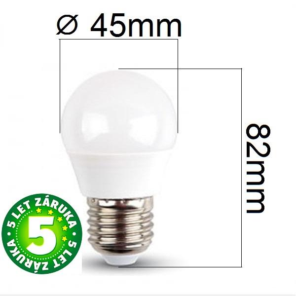 Prémiová LED žárovka E27 SAMSUNG čipy 5,5W 470lm G45 teplá