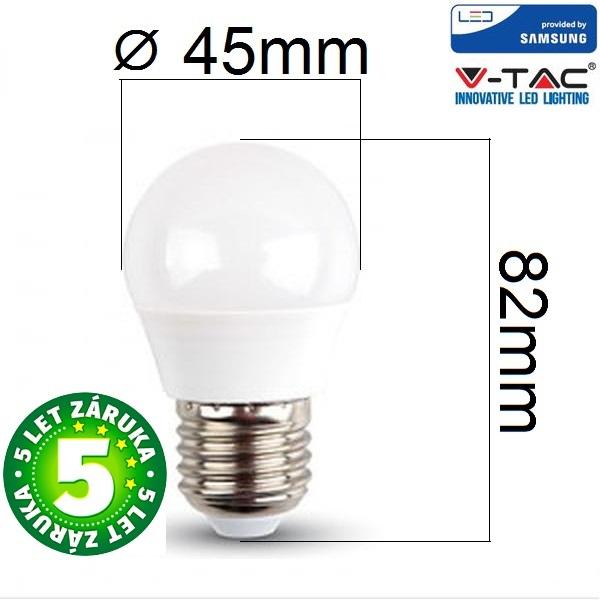 Prémiová LED žárovka E27 SAMSUNG čipy 5,5W 470lm G45 teplá, 5 let