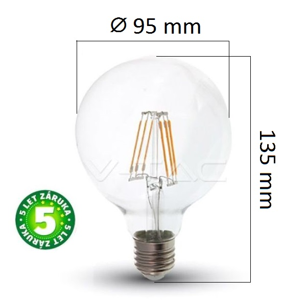 Prémiová retro LED žárovka E27 SAMSUNG čipy 6W 806lm G95 teplá, filament