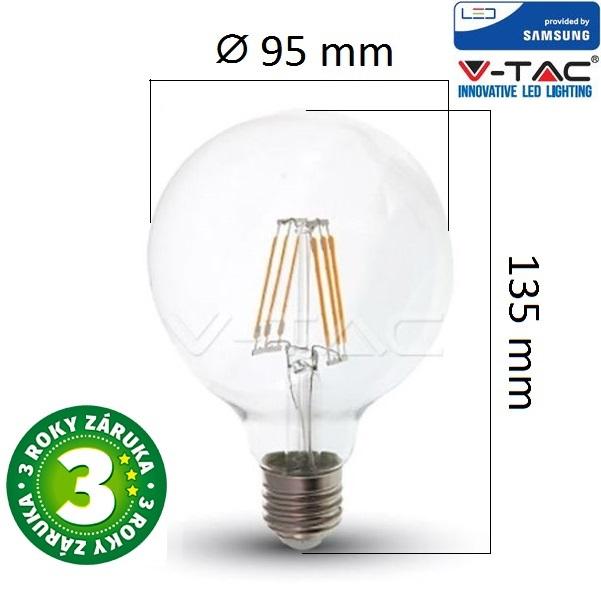 Prémiová retro LED žárovka E27 SAMSUNG čipy 6W 806lm G95 teplá, filament, 3 roky