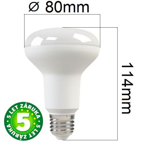 Prémiová LED žárovka E27 SAMSUNG čipy 10W 800lm R80 teplá