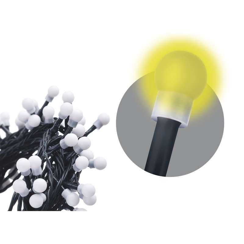 LED vánoční řetěz 9,6W teplé světlo, 48m, voděodolný, časovač