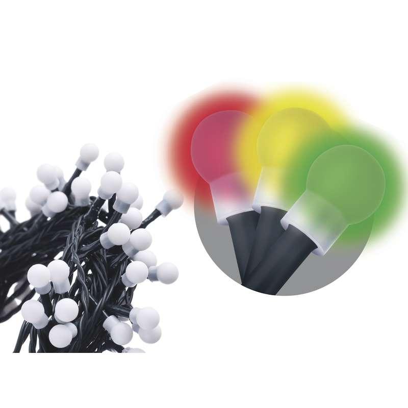 LED vánoční řetěz 6W vícebarevný, 20m, voděodolný, časovač