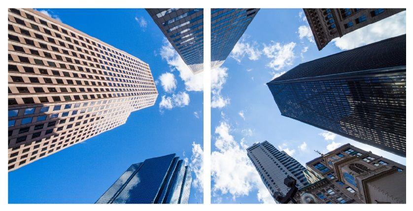 Sada 2 LED panelů s motivem mrakodrapů 48W 3300lm 60x60 cm denní