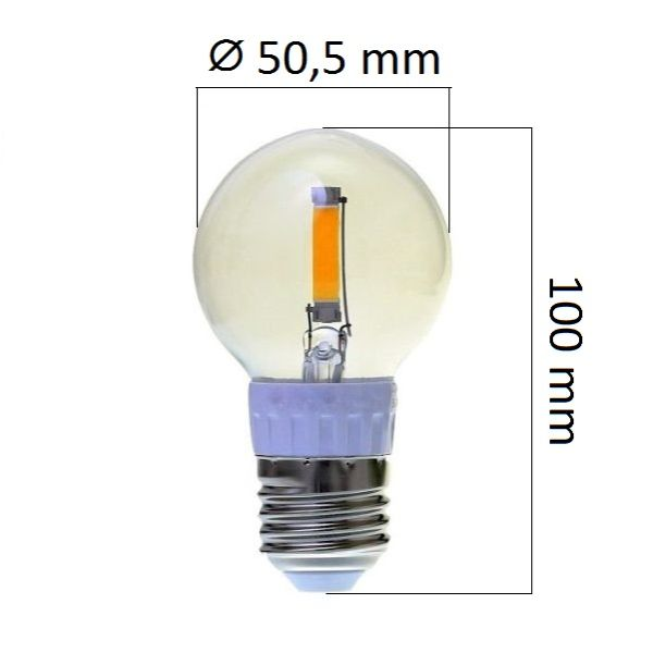 Retro LED žárovka E27 2W 210lm, studená, filament, ekvivalent 20W