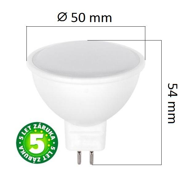 LED žárovka MR16 5W 320lm 12V teplá, ekvivalent 30W