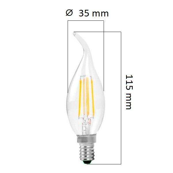 Retro  LED žárovka E14 4W 320lm, teplá, filament, ekvivalent 32W