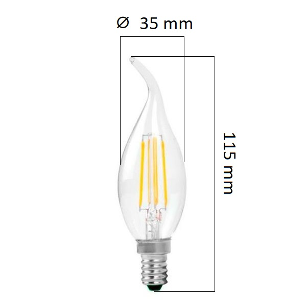 Retro  LED žárovka E14 4W 320lm, denní, filament, ekvivalent 32W