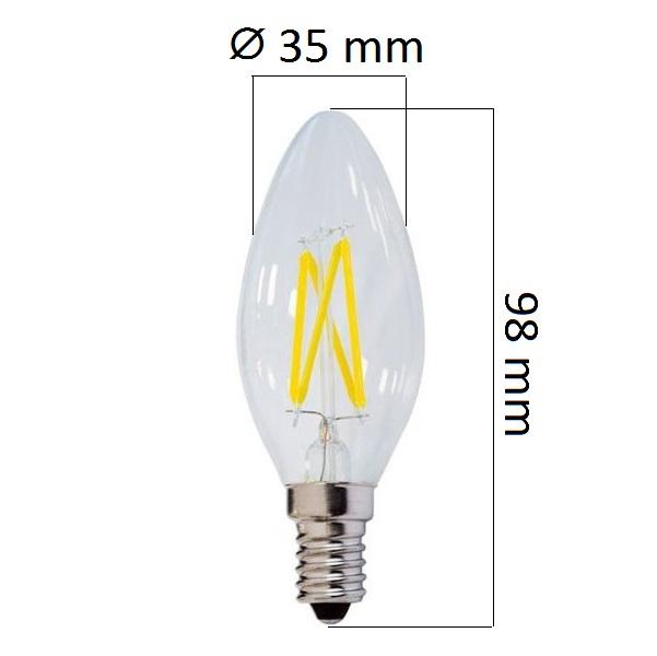 Retro  LED žárovka E14 4W 400lm teplá, filament, ekvivalent 32W