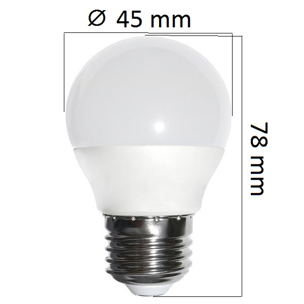 LED  žárovka E27 4W  320lm G45, studená, ekvivalent 30W